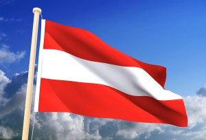 High resolution 3D Austrian flag (with clipping path)